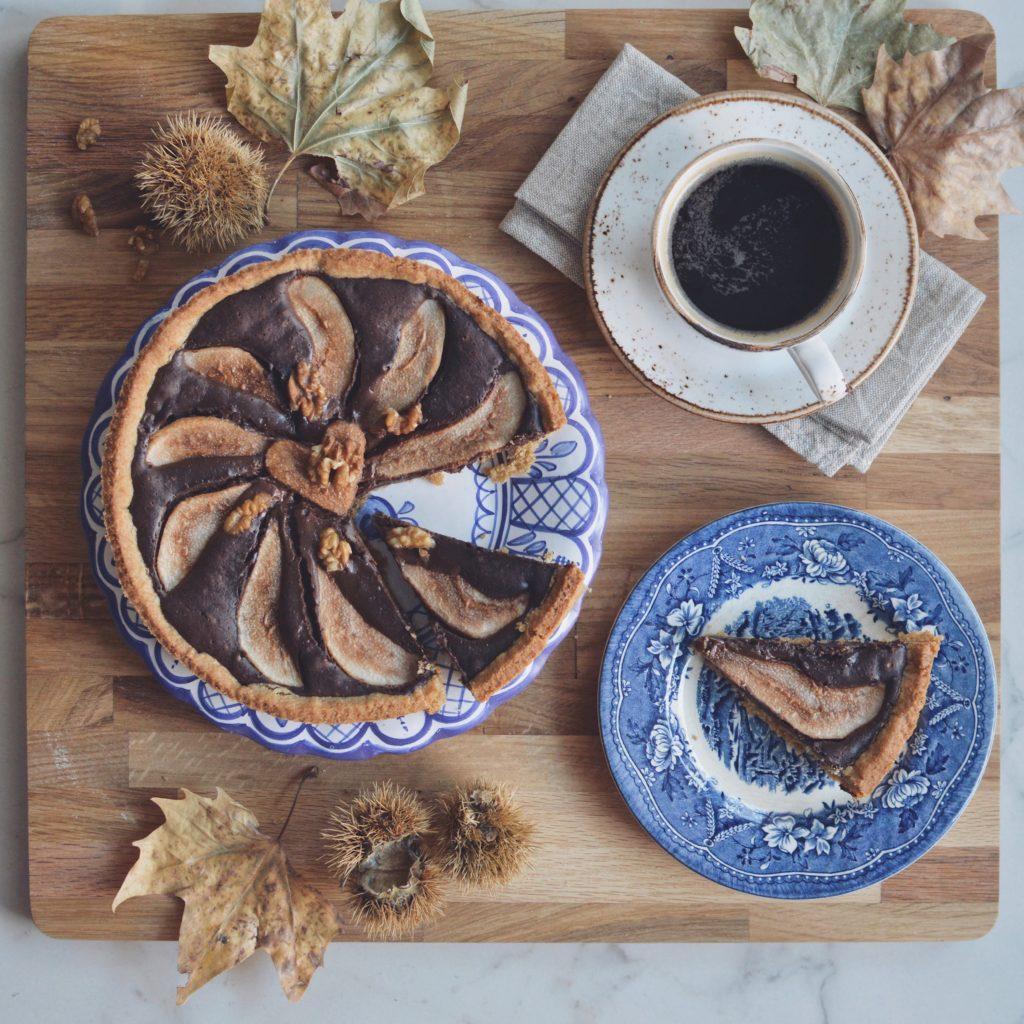 crostata cioccolato pere noci e rum